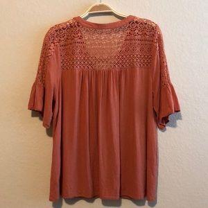 entro Tops - Entro Rust/Burnt Orange Lace-Up Blouse • Large